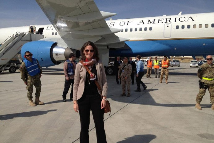 Anne in front of plane